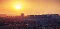 Bright Colorful Sunrise Over Big City Panorama. Vintage Toned Stock Photography - 49589692