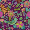Seamless Texture With Flowers, Birds And Butterflies. Can Be Used For Wallpaper, Pattern Fills, Web Page Background, Surface Textu Royalty Free Stock Photography - 49598517