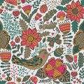 Seamless Texture With Flowers, Birds And Butterflies. Can Be Used For Wallpaper, Pattern Fills, Web Page Background, Surface Textu Stock Photos - 49598563