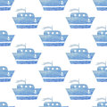 Kids Seamless Vector Watercolor Pattern With Ships, Boats On Whi Stock Photo - 49598600