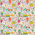 Vector Seamless Pattern, Childish Doodles. Pattern ,set Of Diffe Royalty Free Stock Photo - 49619345