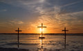 Three Cross Waters Sunset. Royalty Free Stock Photo - 49628435