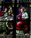 Mary Magdalene Washing The Feet Of Jesus (stained Glass) Stock Photos - 49633133