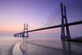 Sunrise And Bridge Over Tagus River In Lisbon Portugal Stock Images - 49637034