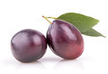 Two Ripe Plums With Leaves Royalty Free Stock Images - 49644709