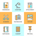 Office Objects Line Icons Set Stock Image - 49651891