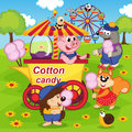 Animals Eat Cotton Candy At Amusement Park Royalty Free Stock Image - 49673786