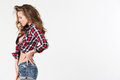 Portrait Of Sexy Girl In Checkered Shirt And Denim Shorts. Stock Photo - 49686760