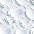 Grey Seamless Pattern With 3d Hearts For Day Valentine Stock Photo - 49693770