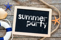 Summer Party Text On Blackboard Royalty Free Stock Photo - 49710765