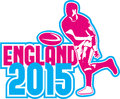 Rugby Player Passing Ball England 2015 Retro Royalty Free Stock Image - 49711266