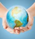 Close Up Of Human Hands With Earth Globe Royalty Free Stock Images - 49715809