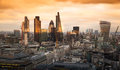 City Of London, Business And Banking Aria. London S Panorama In Sun Set. Stock Images - 49718094