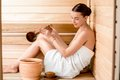 Woman In Sauna Stock Images - 49719694