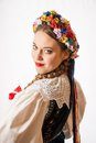 A Young Beautiful Woman Wearing A Traditional Polish Folk Costume Royalty Free Stock Photography - 49721507