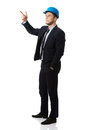 Happy Businessman In Helmet Points His Finger Up. Royalty Free Stock Image - 49722166