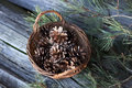 Wicker Basket With Pine Cones Royalty Free Stock Image - 49729146