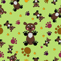 Bears And Paws Seamless Pattern. Vector Royalty Free Stock Photography - 49735177