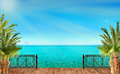 Tropical Landscape With Blue Sea And Palm Trees Royalty Free Stock Images - 49741399