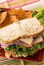 Healthy Lunch Food Sandwich Turkey Ham With Chips Stock Photo - 49754360