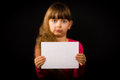 Sad Girl With Blank White Sign Royalty Free Stock Photo - 49756695