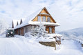 Mountain Cottage In Winter Stock Image - 49758091