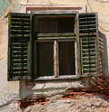 Window With Old Wood Shutters Stock Photo - 49758110