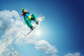 Sport Background. Snowboarder Jumping. Stock Photo - 49758520