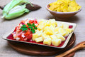 Cooked Cassava With Tomato, Onion And Corn Stock Images - 49761494