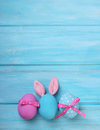 Easter Pink And Blue Eggs With Bunny Ears Royalty Free Stock Images - 49772839