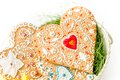 Isolated Gingerbread Valentine Cookie Heart Royalty Free Stock Image - 49773536