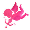 Watercolor Silhouette Of An Angel.watercolor Painting On White B Stock Photos - 49775273