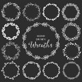 Vintage Set Of Hand Drawn Rustic Wreaths. Floral Vector Graphic Stock Image - 49780331