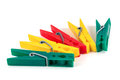 Five Colorful Plastic Clothespins Royalty Free Stock Image - 49783946