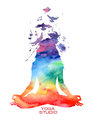 Watercolor Woman Silhouette Of Lotus Yoga Pose Royalty Free Stock Photography - 49790887