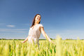 Smiling Young Woman On Cereal Field Stock Images - 49797214
