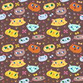 Funny Doodle Cartoon Cats Seamless Vector Pattern Royalty Free Stock Photography - 49801987