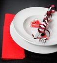 Valentine Day Dinner With Table Setting In Red And Elegant Heart Ornaments Royalty Free Stock Images - 49806949