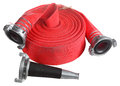 Red Fire Hose Winder Roll  Roller, With Coupler And Nozzle. Stock Photos - 49808243