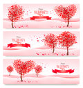 Three Holiday Banners. Valentine Trees With Heart-shaped Leaves. Stock Images - 49811154