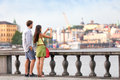 Travel Tourists People Taking Photos In Stockholm Stock Image - 49813421