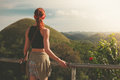Woman Admiring View Of Chocolate Hils In Philippines Royalty Free Stock Photos - 49819268