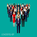 Flat Illustration Of A Leader And A Team. A Crowd Of Men Royalty Free Stock Photos - 49822528