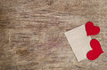 Two Red Fabric Hearts With Sheet Of Paper Stock Image - 49835671