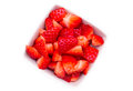 Strawberries On Square Bowl From Above Royalty Free Stock Photography - 49839287