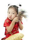 Happy Chinese New Year .Cute Asian Girl In Tradition Chinese Royalty Free Stock Photos - 49852438