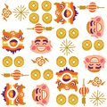 Chinese New Year Lion Dancing Vector Pattern Royalty Free Stock Photos - 49858398