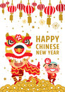 Chinese New Year Lion Dancing Vector Concept Stock Images - 49858404