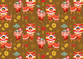 Chinese New Year Lion Dancing Vector Pattern Stock Image - 49858411