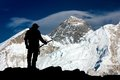 View Of Mount Everest With Buddhist Prayer Flags Stock Images - 49872744